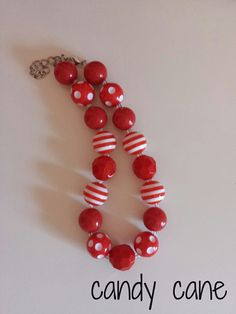 LLB Girls Chunky Necklace  candy cane by LittleLillyBelle on Etsy, $14.00 gumball bubble gum beaded necklace bracelet pretty girly gift holiday christmas idea red