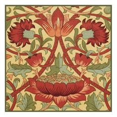 Counted Cross Stitch Chart Loden in Earthtones by Arts and Crafts Movement Founder William Morris