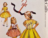 1950's Girls Full Skirt Parasol Dress Pattern Crinoline Petticoat Bow Applique Instructions Vintage McCall's 2090 Sewing Patterns Size 6