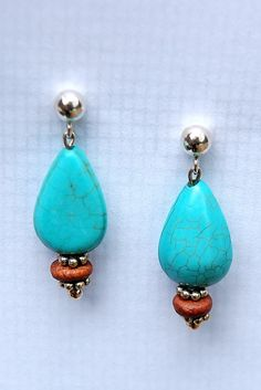 Native American Turquoise Teardrops and Cherry Wood Earrings