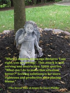 """When a dispute arises ego declares 'I am right, you are wrong!'. This attack is self-serving and destructive. Spirit queries, ""What can I do to make this situation better?"" Seeking solutions is far more righteous and productive than placing blame."" ~The Secret Side of Anger by Janet Pfeiffer Please share this message.  Learn more @ http://www.pfeifferpowerseminars.com/pps1-products.html"
