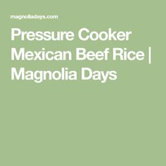 Pressure Cooker Mexican Beef Rice   Magnolia Days
