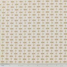 Ichthys & Crosses Ecru Cotton Calico Fabric