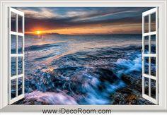 3D Ocean Rocks Beach Sunrise Horizon Sun window wall sticker art decal IDCCH-LS-004324