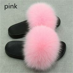 Women's Real Fox Fur Slippers Fuzzy Slides Fluffy Sandals Open Toe US7 Pink #sandals (ebay link) Fluffy Sandals, Fluffy Shoes, Fluffy Sliders, Fur Sliders, Fuzzy Slides, Cute Slides, Slides With Fur, Open Toe, Slipper Sandals