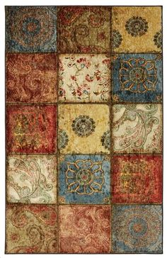 Townhouse Rugs Artifact Patchwork Area Rug, 60 by 96-Inch