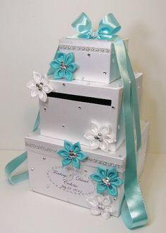 Wedding Card Box Blue and White Gift Card Box Money Box Holder.Customize your color Wedding Envelope Box, Wedding Gift Card Box, Money Box Wedding, Gift Card Boxes, Wedding Boxes, Wedding Cards, Diy Wedding, Wedding Gifts, Azul Tiffany