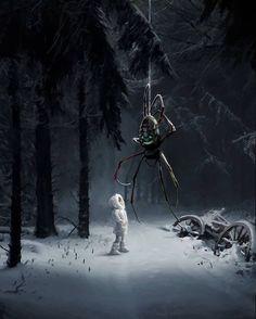 Dark Fantasy Art, Roman Fantasy, Fantasy Artwork, Arte Horror, Horror Art, Art Sinistre, Spider Art, Arte Obscura, Creepy Art