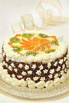 """Торт """"Очарование"""" (бисквит со взбитыми сливками и фруктами) [Кухня гурмана]"""