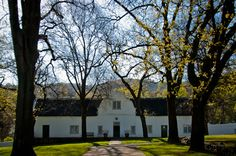 The iconic crisp, white, delicately detailed Cape Dutch architecture of South Africa stands so beautifully against nature's backdrop. Cape Dutch, Thatched Roof, Wines, Backdrops, Garden Walls, Mansions, Landscape, Architecture, House Styles