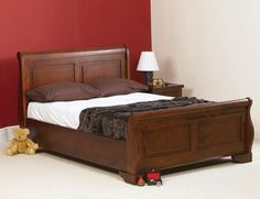 sleigh bed dark bedframe chunky bed gorgeous so christmassy sweet dreams pacino wooden bed frame http - Dark Wood Bed Frame