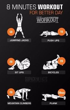8 Minutes Workout For Better Day - Healthy Fitness Routine Abs 8 Minute Workout, 300 Workout, Workout Routine For Men, Gym Workout Tips, At Home Workout Plan, Workout Challenge, At Home Workouts, Spartan Workout, Quick Workouts