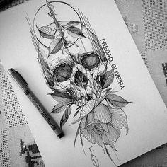 Skull and rose Kunst Tattoos, Skull Tattoos, Body Art Tattoos, New Tattoos, Sleeve Tattoos, Tattoo Sketches, Tattoo Drawings, Sketch Drawing, Easy Drawings
