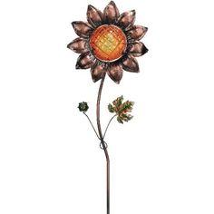 Garden Stake Glass Sunflower 42in - Regal Art #10086 - http://supplies.myraisedbedgarden.net/garden-structures/garden-stakes/garden-stake-glass-sunflower-42in-regal-art-10086/