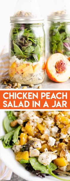 Chicken Peach Salad in a Jar is a convenient and healthy meal prep recipe perfect for a quick summer lunch or dinner! A light poppy seed dressing is topped with chicken, fresh peaches, pistachios and goat cheese. #SaladInAJar #PeachSalad #MealPrepSalad Veggie Recipes Healthy, Best Salad Recipes, Best Chicken Recipes, Healthy Chicken, Amazing Recipes, Lunch Recipes, Salad Works, Greek Chicken Salad, Salad In A Jar