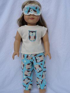 American Girl Doll Pajamas and Sleep Mask- Owls