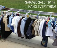 Resale Ideas Make Money 16 garage sale tips to make hundreds (thousands) at our next garage sale This is your chance to grab 100 great products WITH Master Resale Rights for mere pennies on the dollar! Garage Sale Organization, Garage Sale Tips, Garage Sale Pricing, Diy Garage, Organizing Ideas, Organization Hacks, Vida Frugal, Rummage Sale, Hanging Clothes
