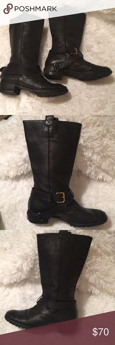 """Diane von Furstenberg """"Safari"""" Motorcycle Boots Size 8  Authentic DVF Diane von Furstenberg """"Safari"""" Motorcycle Boots Black Leather Upper, 1 1/2"""" Wooden Stacked Heel, Gold Brass Hardware, 9"""" Shaft height, 15"""" Circumference. Black Rubber Soles,   Very Good Pre-Owned condition.  Review Photographs Carefully for Item Condition.  Made in Brazil. Diane Von Furstenberg Shoes"""