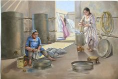 Washibg day :D Picture Composition, Arabian Art, Old Egypt, Urban Sketching, Woman Painting, Painting Art, Drawing People, Nature Pictures, Art World