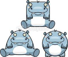 Hippo Cartoon Royalty Free Stock Vector Art Illustration