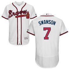 Dansby Swanson #7 Atlanta Braves White Home Flex Base Jersey