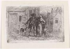 Kornelis Jzn de Wijs | Vrouw ondersteunt een man, Kornelis Jzn de Wijs, 1842 - 1896 | Een vrouw ondersteunt een kreupele man bij het lopen op straat. Links een hond en naast de vrouw een kind.