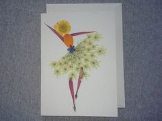 This original pressed flower card measures 5 x 7 and is suitable for framing.    Card characteristics:    * Post customer card stock  * Real