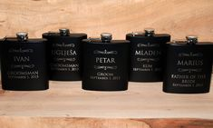5 Flasks Wedding party favors, Set of 5engraved Flasks, Groomsmen flask, Best man flask, groomsman, 6oz mustache personalized flask, on Etsy, $71.92