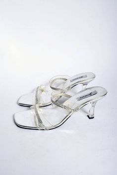 58035278557 Silver Sequin Sandal Shoes with Clear Plastic Heels   Vintage 90 s  Transparent Rhinestone Gems Heel