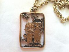 "vintage necklace ""Love is....."" by Kim Casali featured in L.A. Times, pendant. eBay item!! Ends today in 4 hours!!"