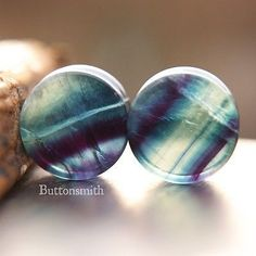 Rainbow Fluorite  Stone Plugs Double Flared Ear Lobe - 2g 0g 00g 7/16 1/2 9/16 5/8 3/4 7/8 1""