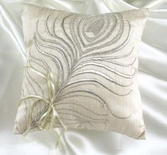 ring bearer pillow - Auntie Lori can do this with her setting machine, or anything you want! Cute Wedding Ideas, Perfect Wedding, Dream Wedding, Wedding Dreams, Wedding Stuff, Ring Bearer Pillows, Ring Pillows, Throw Pillows, Peacock Theme