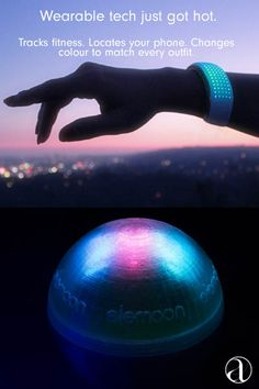 The future of wearable #tech is here, and it's available on AHAlife. Here's to elemoon: the smart bracelet with customizable LEDs, custom alerts, health tracking and a clock. Oh, and it even changes color to match your look!