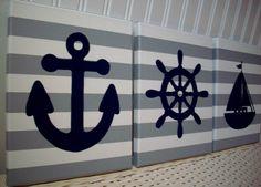 Nautical Nursery Wall Decor Paintings Sailboat Anchor Helm Navy Grey Canvas Baby