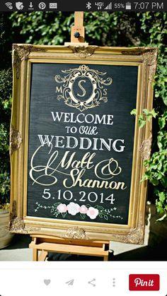 Vintage Elegance Framed Chalk Board Wedding Welcome Sign With Date Blush Gold By Melissa Vossler