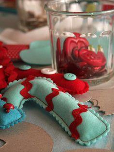 red and aqua felt candycanes