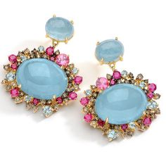 Baobab Collection - Earrings in 18k yellow gold with round brown diamonds, aquamarine, ruby and pink tourmaline.