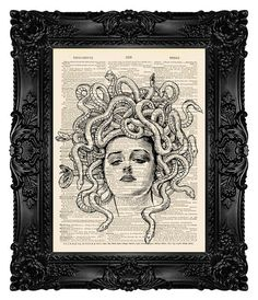 Medusa Art Print Dictionary Art Print by MadameBricolagePrint