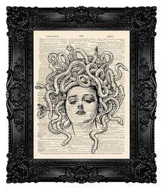 Medusa Art Print Dictionary Art Print by MadameBricolagePrint, $10.00