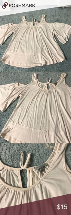 Pale Pink Cold Shoulder Bell Sleeve Top Pale Pink. Could shoulder with bell sleeves that come down to the elbow. Flowy. Key hole back with tie. Worn a couple of times. Super comfy material. Charlotte Russe Tops Blouses