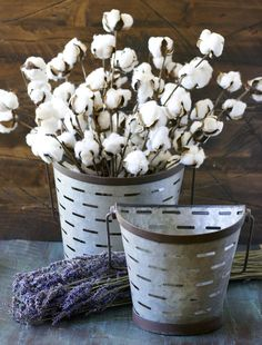 Metal Olive Buckets and cotton stems! These are stunning!