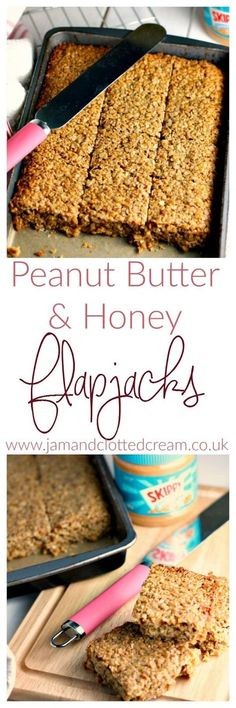 and Peanut Butter Flapjacks A Honey and Peanut Butter Flapjack recipe - perfect for breakfasts on the go.A Honey and Peanut Butter Flapjack recipe - perfect for breakfasts on the go. Honey Recipes, Sweet Recipes, Baking Recipes, Dessert Recipes, Lunch Recipes, Healthy Recipes, Shrimp Recipes, Recipes Dinner, Healthy Meals