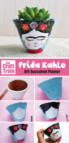 Make a Frida planter! This DIY succulent planter is more simple than it looks and would make a lovely handmade gift idea for art-lovers. Also includes some fascinating facts about Frida Kahlo – an inspiring mexican artist and historical figure. Diy Gifts Cheap, Diy Crafts For Gifts, Crafts For Kids, Succulent Planter Diy, Diy Planters, Succulents, Suculentas Diy, Diy Cadeau Noel, Painted Pots