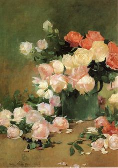 Roses Emil Carlsen - 1894  (associated with: Old Lyme Colony. This movement is a subcategory of Impressionism Dates: 1900-1915 American impressionist artists, who met in Old Lyme (Connecticut) around Childe Hassam).