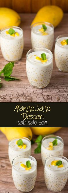 Mango Sago Dessert is part of Filipino food dessert - This Filipino mango sago dessert is a delicious dessert consisting of tapioca pearls, mango bits, fresh milk & coconut milk It's a definite crowd favorite Mango Desserts, Asian Desserts, Delicious Desserts, Thai Dessert Recipes, Ramadan Desserts, Chinese Desserts, Dessert Healthy, Healthy Food, Filipino Desserts