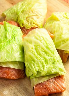 Salmon wrapped in cabbage http://paleoleap.com/cabbage-wrapped-salmon/