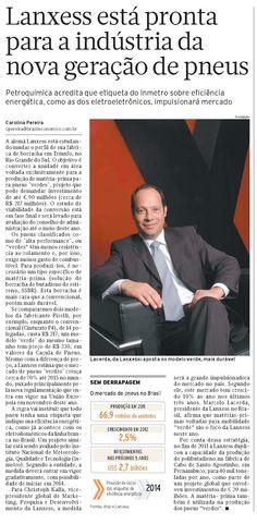 Título: Lanxess está pronta para indústria da nova geração de pneus  Veículo: Brasil Economico  Data: 13- março- 2012  Cliente: Lanxess