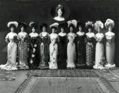 Anna Held and her Sadie Girls, c.1903 ; the gorgeously attired chorus line for her song Sadie, which debuted in the 1901 Ziegfeld produced musical starring Held, The Little Duchess.