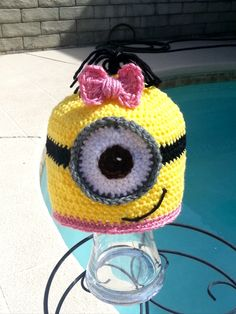 MINION inspired hat,DESPICABLE ME inspired beanie,Crochet hat,Fun hat,Halloween costume,Costume,Christmas gift,Accessories,Gift idea,Hats by TanglingThreads on Etsy https://www.etsy.com/listing/205935809/minion-inspired-hatdespicable-me