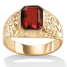 PalmBeach Jewelry Mens Emerald-Cut Simulated Ruby 14k Yellow Gold-Plated Nugget Style Ring
